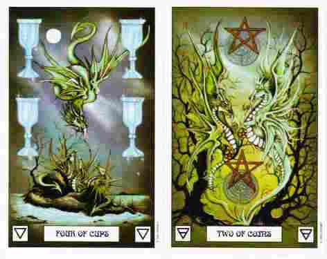 Four of Cups Two of Coins Dragon Tarot Deck